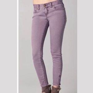 Free People | Purple Skinny Ankle Zip Jeans 27